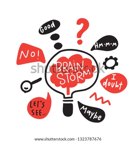 Brainstorm. Funny hand drawn illustration of brainstorming process. Brain inside the lamp. Vector