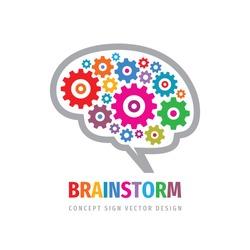 Brainstorm gears logo template design. Human brain concept sign. Creative idea icon. Inspiration innovation symbol. Education logic intellect. Vector illustration.