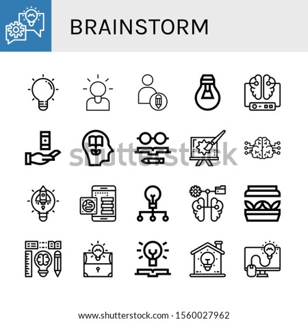 brainstorm icon set. Collection of Lightbulb, Brainstorming, Creative, Brain, Knowledge, Artificial light, Creativity icons