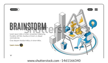 Brainstorm isometric landing page. Man sitting at desk, working on laptop, searching idea. IT company, business startup effective brainstorming online service, 3d vector illustration, banner, line art