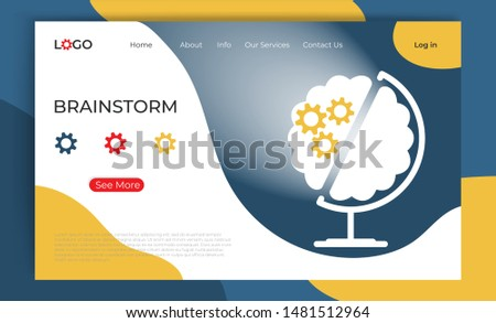 Brainstorm landing page template. Creative flat cartoon vector illustration  globe and human brain with gear. Online brainstorming concept for web page. Poster, banner, website design
