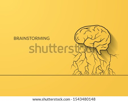 Brainstorming and creativity vector concept on yellow background. Minimalist line art. Creative symbol. Eps10 illustration.