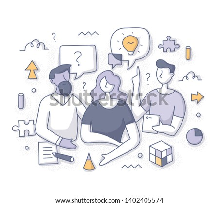 Brainstorming and problem solving concept. Team collaborative process. People sharing ideas, finding solutions, discussing strategy. Doodle vector concept for website, applications, printed materials