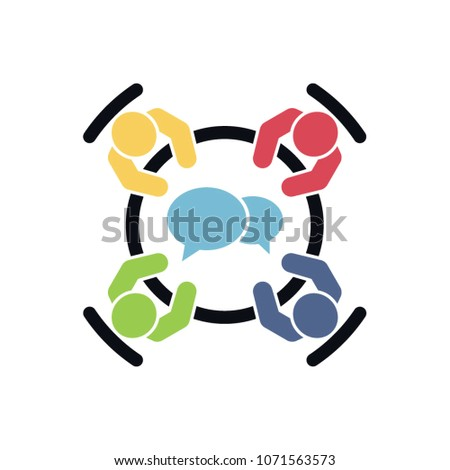 Brainstorming and teamwork icon. Business meeting. Group of four people in conference room sitting around a table working together on new creative projects. Flat vector design. Stockfoto ©