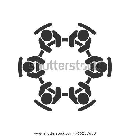 Brainstorming and teamwork icon. Business meeting. Group of six people in conference room sitting around a table working together on new creative projects. Flat vector design. Foto stock ©