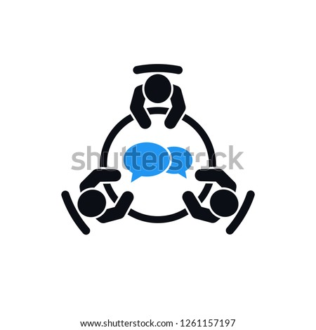 Brainstorming and teamwork icon. Business meeting. Group of three people in conference room sitting around a table working together on new creative projects. Flat vector design. Foto stock ©