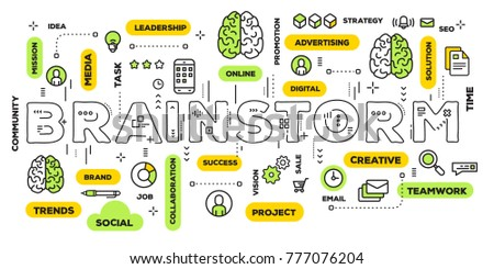 Brainstorming business concept. Vector creative illustration of brainstorm word lettering typography with line icons and tag cloud on white background. Thin line art style design for business banner