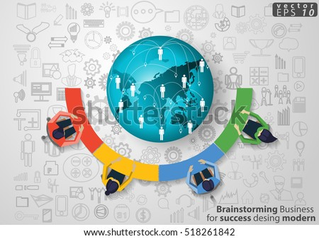 Brainstorming Business for success desing modern Idea and Concept Vector illustration with Earth,icons.
