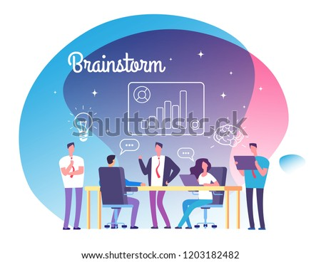 Brainstorming concept. People meeting on workshop. Business success, team thinking on startup and brainstorming vector background. Illustration of teamwork startup, brainstorming team
