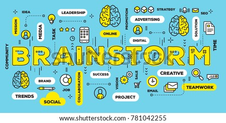 Brainstorming concept with tag cloud on green background. Vector creative illustration of brainstorm yellow word lettering typography with line icons. Thin line art style design of business web banner