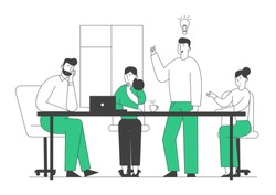 Brainstorming Creative Process in Office. Business People at Desk Discussing Idea Concept with Light Bulb. Team Project Development, Teamworking Insight. Cartoon Flat Vector Illustration, Line Art