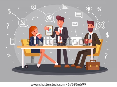 Brainstorming creative team idea discussion people. Teamwork staff around table laptop chief art director designer programmer. Flat style vector illustration