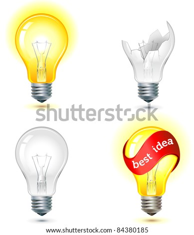 brainstorming - good and bad idea light bulb concept - turned off and glowing lamps