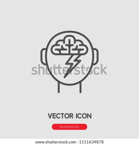 Brainstorming icon vector. Brainstorming symbol. Linear style sign for mobile concept and web design. Brainstorming symbol illustration. Pixel vector graphics - Vector.