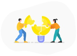 Brainstorming in group, teamwork, generate ideas together. Two people combine idea puzzle. Modern vector illustration