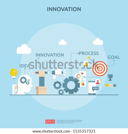 brainstorming innovation idea process and creative thinking concept with light bulb lamp for start up business project. illustration for web landing page, banner, presentation, social media, print.