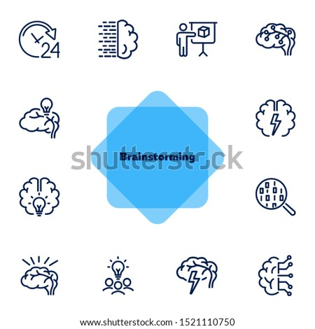 Brainstorming line icon set. Shining bulb, idea, charging. Brain work concept. Can be used for topics like intelligence, genius, IT startup