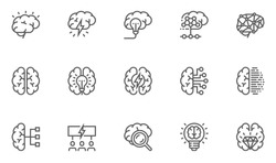 Brainstorming Line Icons Set. Brain, Creativity, Novel Idea. Editable Stroke. 48x48 Pixel Perfect.