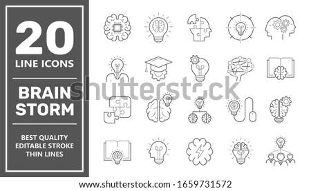 Brainstorming line icons set. Set of brainstorm icons such as Artificial light, brain, lightbulb, creativity, brainstorming, brain, creativity, novel idea, brainstorm. Editable Stroke. EPS 10