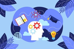 Brainstorming process concept. Creative innovative knowledge thinking, genius imagination and business approach. Invention, inspiration and solutions flat vector illustration