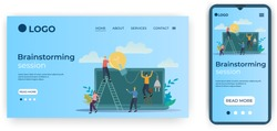 Brainstorming session.Template for the user interface of the website's home page.Landing page template.The adaptive design of the smartphone.vector illustration.