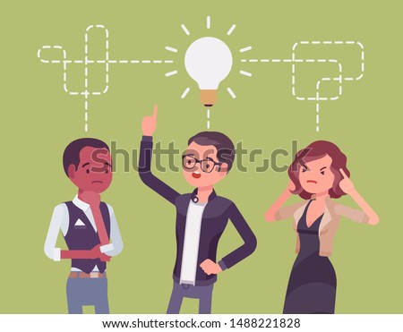 Brainstorming startup business team. Young people in a process for generating new ideas, develop creative solutions to project problem, intensive discussion. Vector flat style cartoon illustration