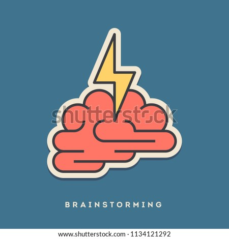 Brainstorming sticker. Thin line, flat design style. Vector illustration
