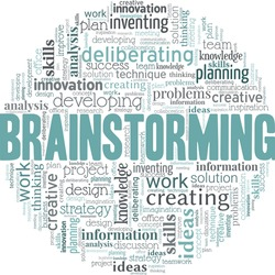 Brainstorming vector illustration word cloud isolated on a white background.