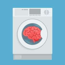 Brainwashing. Brain is washed in a washing machine. Mind reloading, propaganda. Clean mind. Vector illustration, flat design, cartoon style. Isolated on blue background.