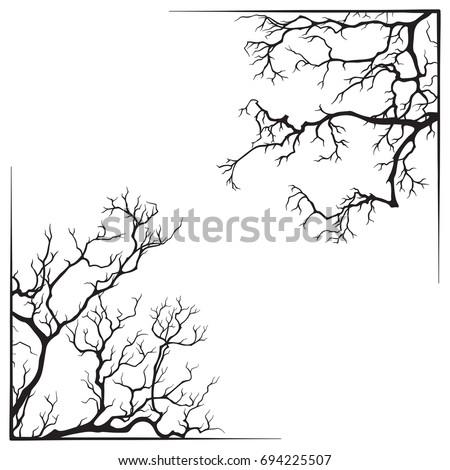 branch borders halloween black