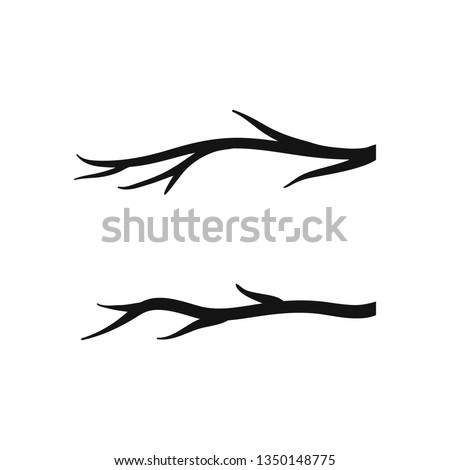 Branch clipart. Cutout vector silhouette set.