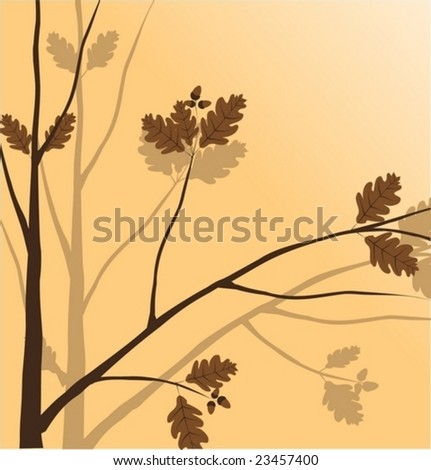 Branch of a plant (oak), the Japanese style, background