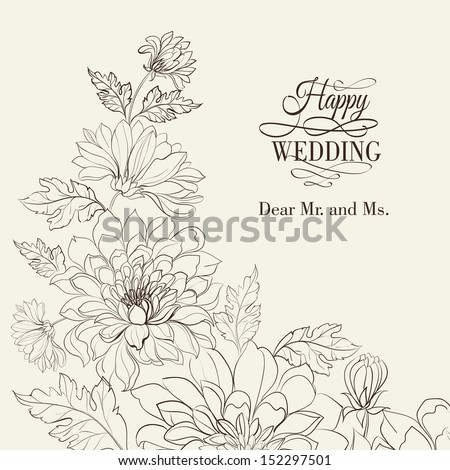Branch of Chrysanthemum Vector illustration