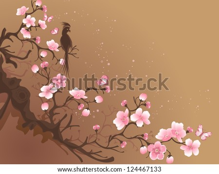 branch of sakura and bird on a brown background
