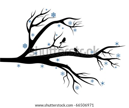 Branch of tree with birds on it. Winter composition for Your design