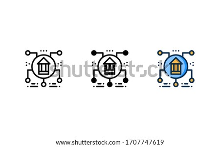 Branch office icon. With outline, glyph, and filled outline style Foto d'archivio ©
