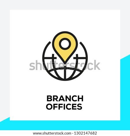 BRANCH OFFICES LINE ICON SET Foto d'archivio ©
