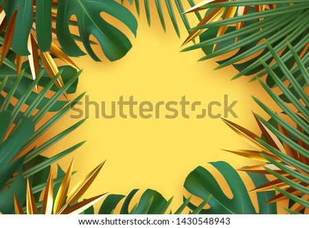 Branch palm realistic. Leaves and branches of palm trees. Tropical leaf background. Green foliage, tropic leaves pattern. frame yellow around blank space for text, flat lay, view from above. vector