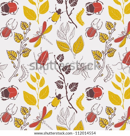 branch with leaves and insects, seamless pattern