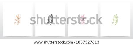 Branch With Leaves On Letter Logo Design J Foto stock ©