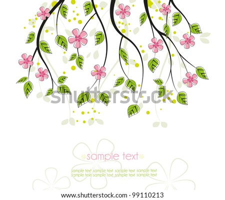 branch with pink flowers on a white background
