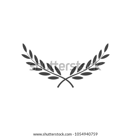 Branches of olives, symbol of victory, vector illustration, flat silhouette, black, white, icon, object for design, laurel, wreath, awards, roman, victory, crown, winner, ornate