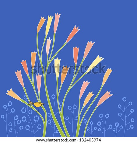 Branches of pastel flowers. Vector illustration
