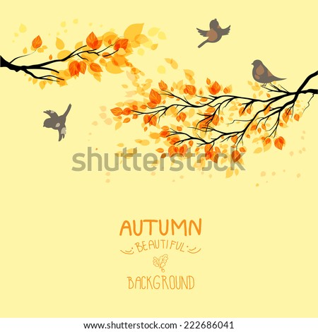 Stock Photo Branches with autumn leaves and birds on yellow background. Copy space