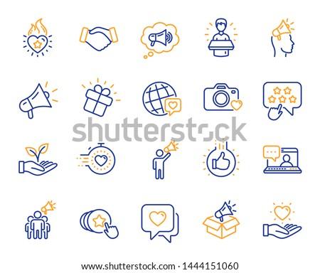 Brand ambassador line icons. Influence people, Megaphone and Representative. Handshake, influencer marketing person, social media icons. Ambassador person. Brand pr. Vector