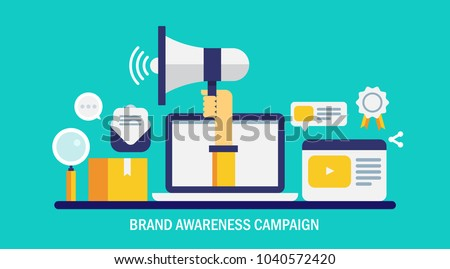 Brand awareness campaign - Business branding and marketing, advertising, flat vector conceptual banner illustration