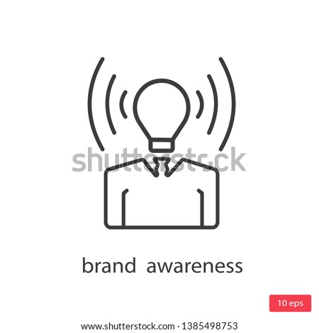 brand awareness icon. Trendy modern flat linear vector brand awareness icon on white background from thin line general collection, editable outline stroke vector illustration
