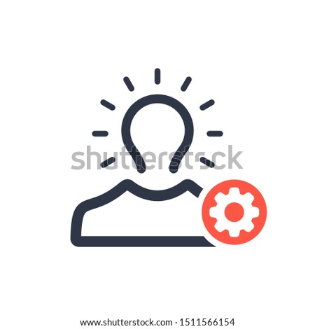 Brand awareness icon with settings sign, customize, setup, manage, process symbol ストックフォト ©