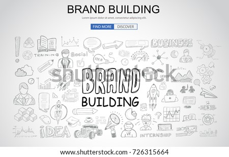 Brand Building concept with Business Doodle design style: company image, advertising tips, best practice. Modern style illustration for web banners, brochure and flyers.