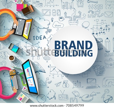 Brand Building concept with Business Doodle design style: company image study, skill testing,best solutions. Modern style illustration for web banners, brochure and flyers.